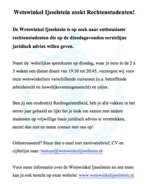 Wetswinkel IJsselstein zoekt rechtenstudenten
